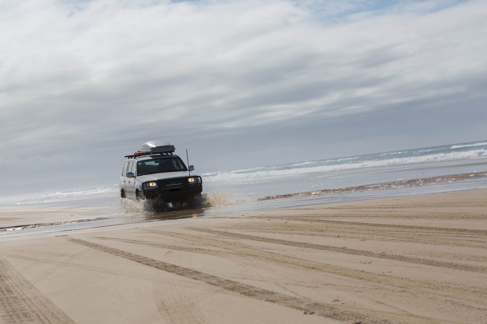 Driving south towards the barge pickup point, Fraser Island