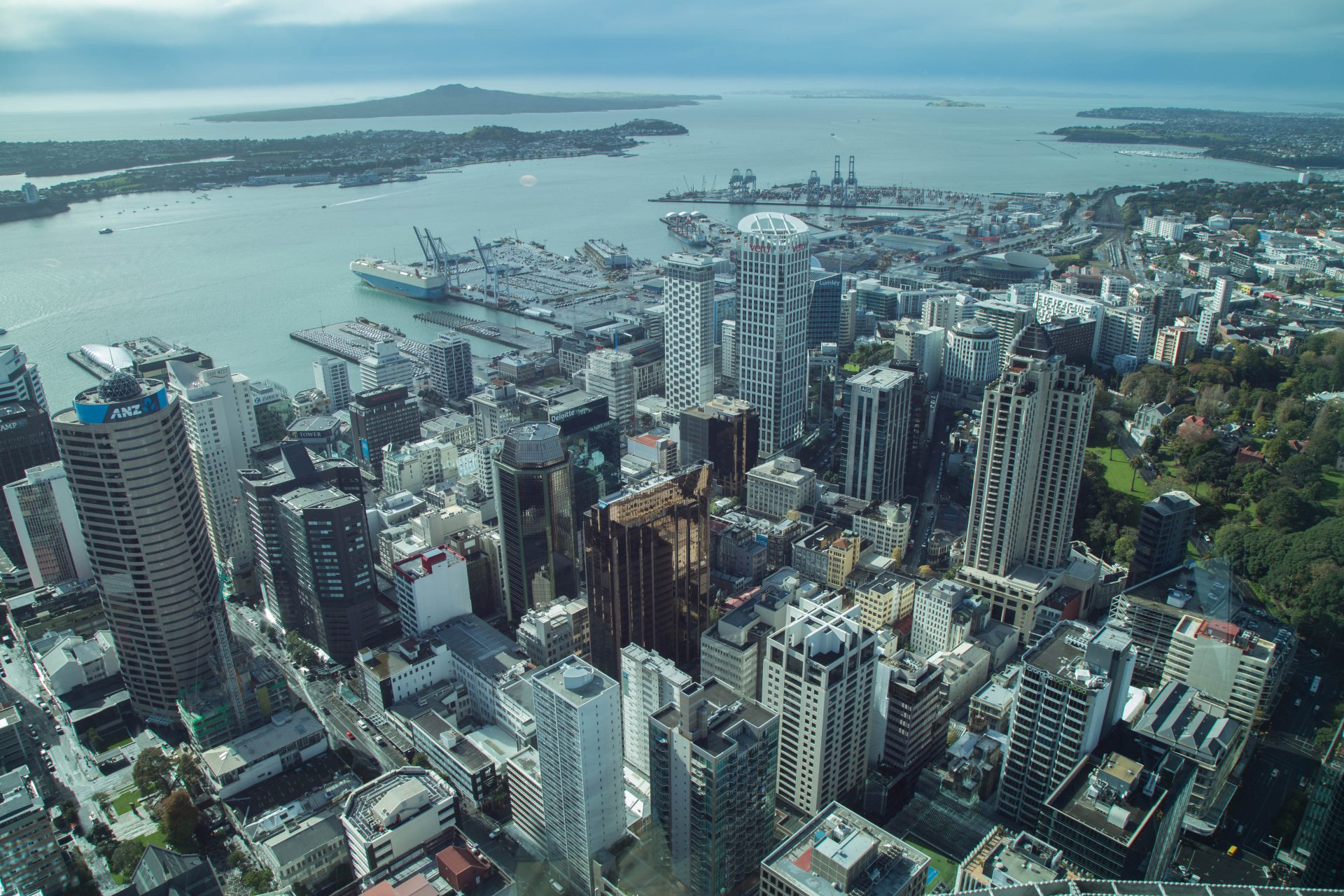 View of Auckland CBD from Sky Deck @ 220m, Auckland Sky Tower