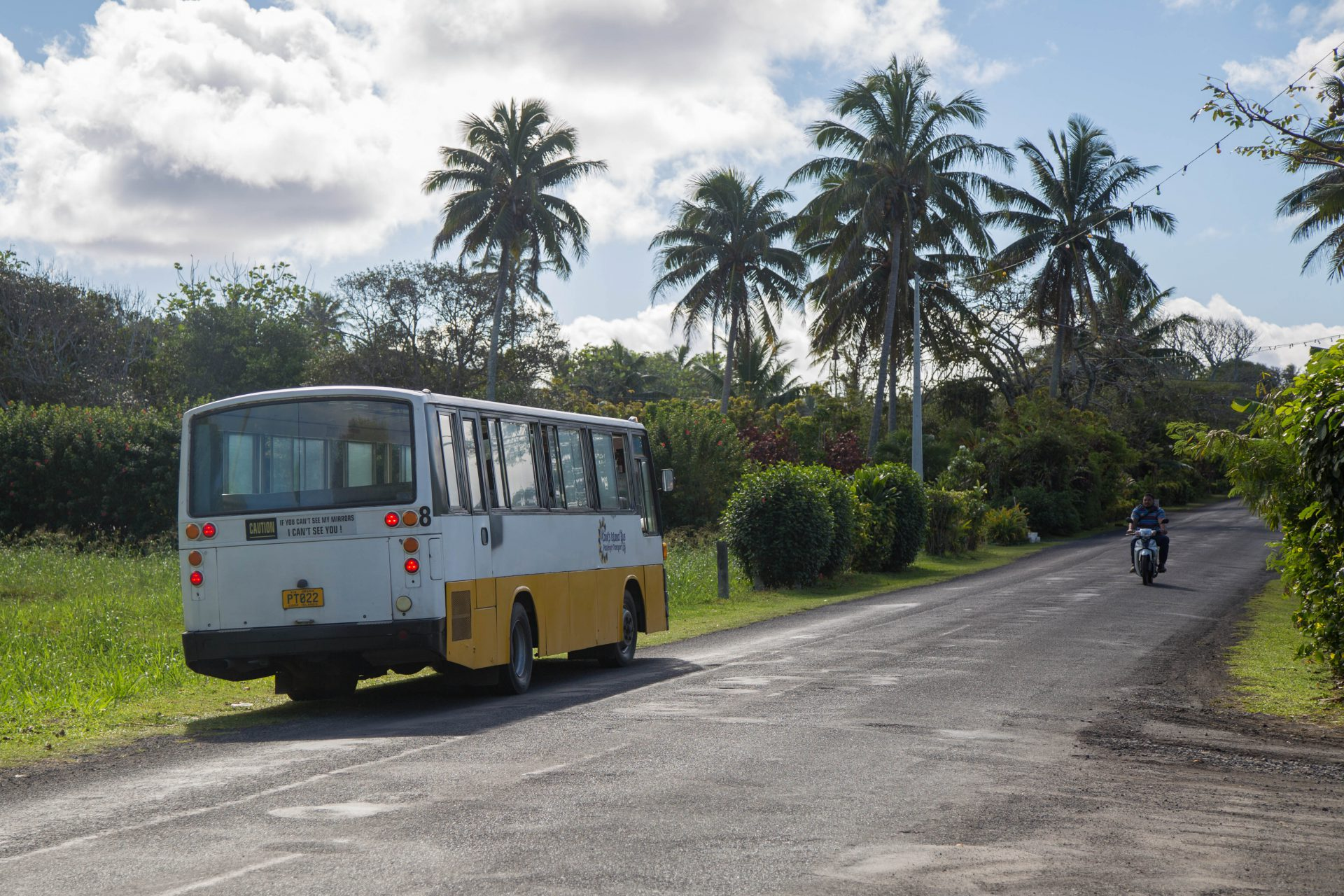 There are two bus routes around Rarotonga: one goes clockwise, the other counter-clockwise