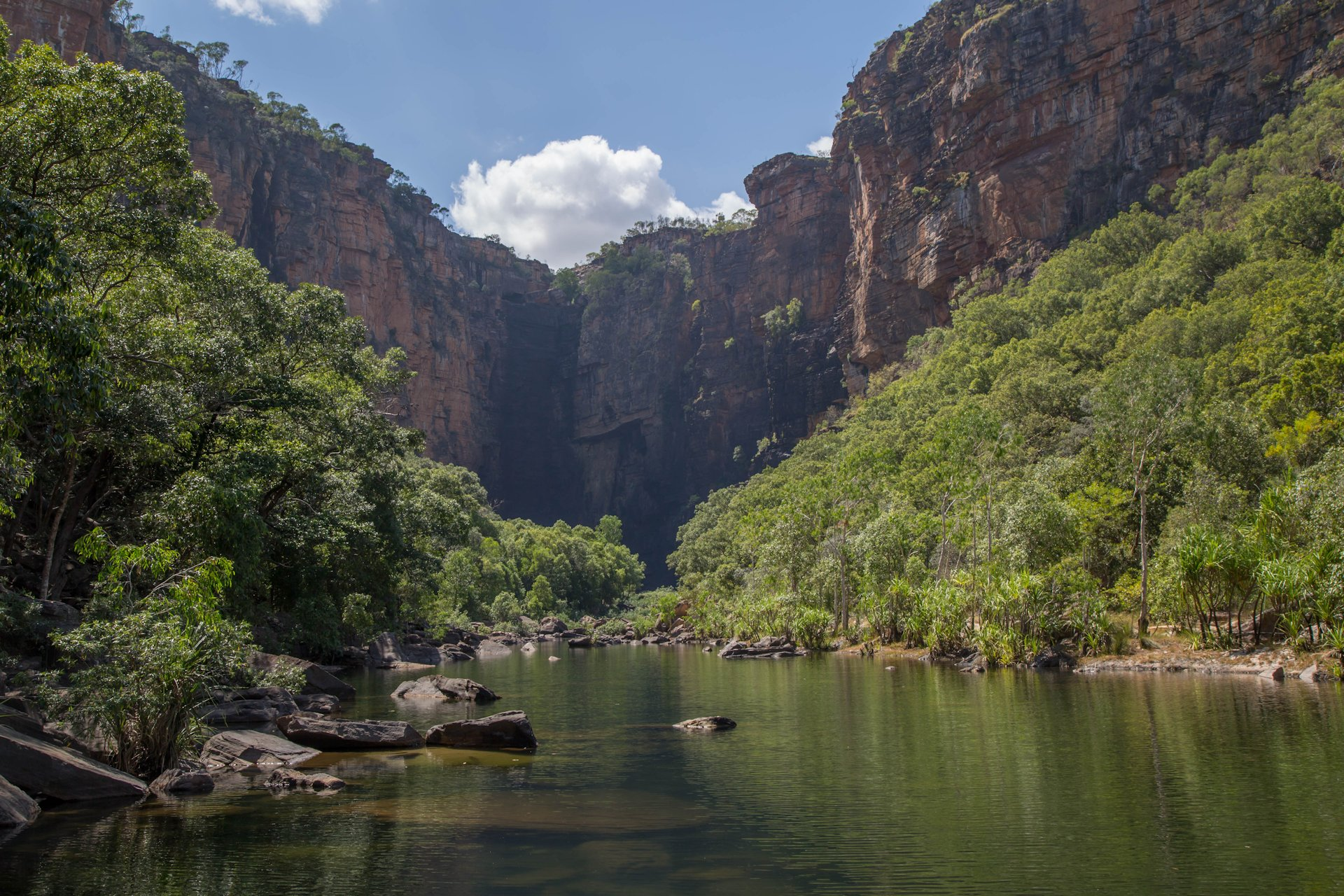 View of the (dry) Jim Jim Falls and the rock walls of the Arnhem Plateau, Kakadu NP